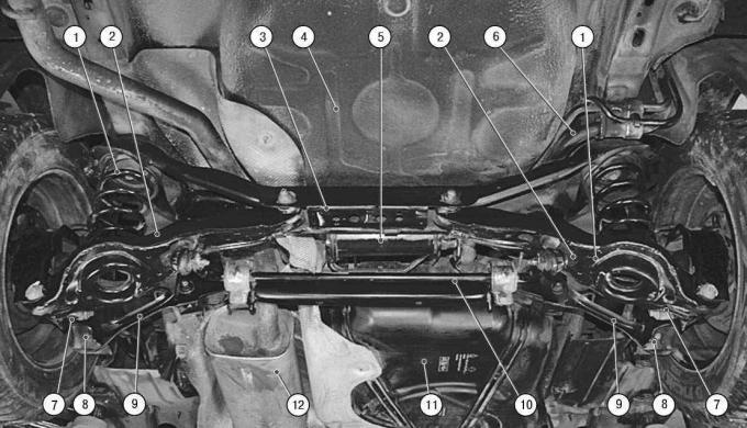 Основные агрегаты автомобиля (вид снизу сзади)